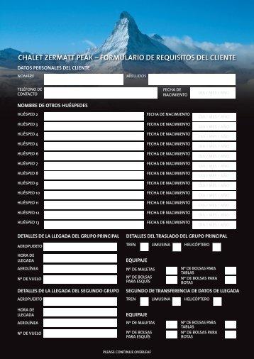 formulario de requisitos del cliente - Chalet Zermatt Peak, Luxury ...