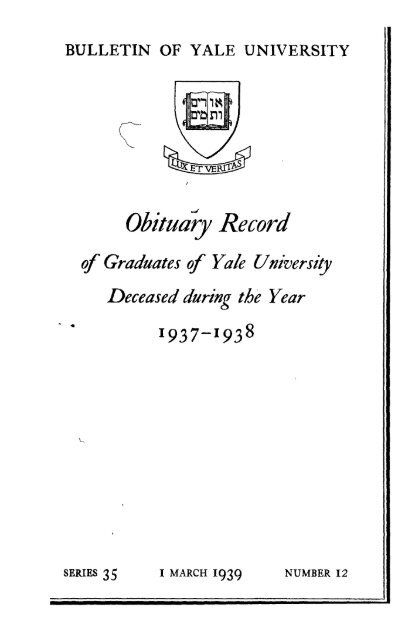1937-1938 Obituary Record of Graduates of Yale University