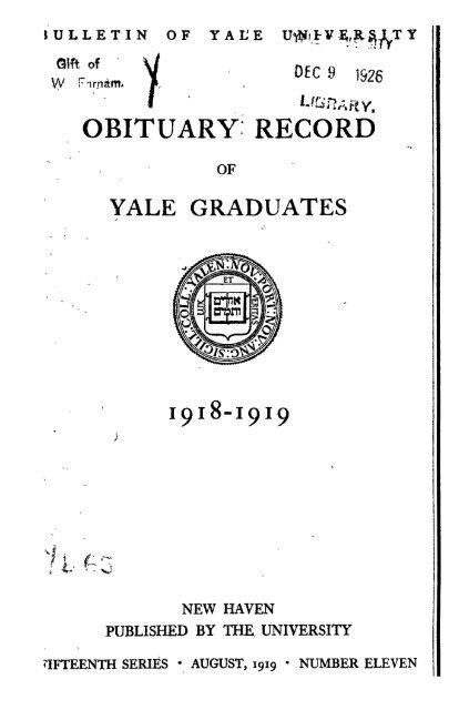 1918 1919 Obituary Record Of Graduates Of Yale University