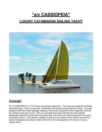 s /v CASSIOPEIA - Catamaran Sailing Yacht for Sale