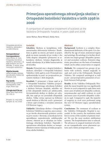 Primerjava operativnega zdravljenja skolioz v Ortopedski bolnišnici ...