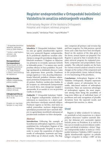 Register endoprotetike v Ortopedski bolnišnici Valdoltra in analiza ...