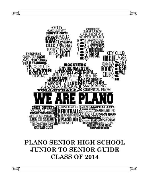 PLANO SENIOR HIGH SCHOOL JUNIOR TO     - K12 - Plano ISD
