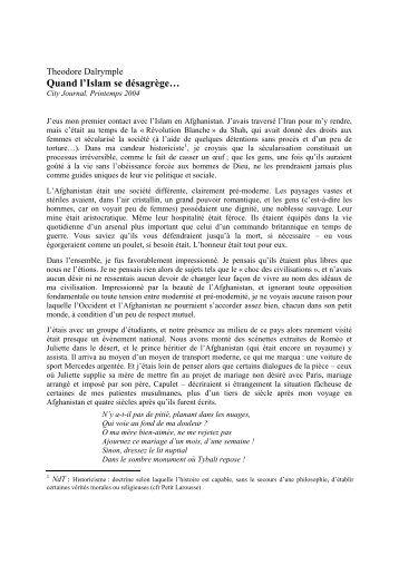 2004 04 12 - Islam - vue 'optimiste' de Théodore Dalrymple…