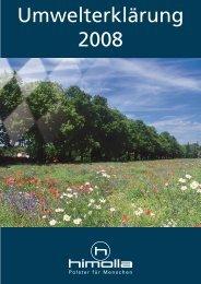 Umwelterklärung 2008 - himolla Polstermöbel GmbH
