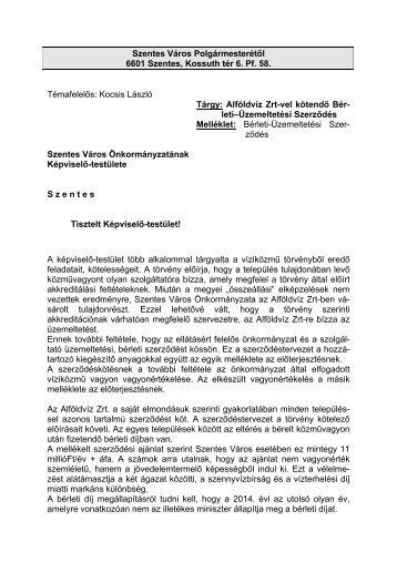 Alföldvíz Zrt-vel kötendő Bérleti-Üzemeltetési Szerződés