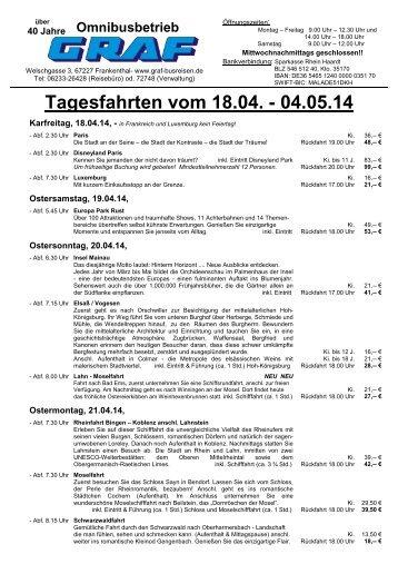 Tagesfahrten vom 18.04. - 04.05.14 - Graf Busreisen Frankenthal