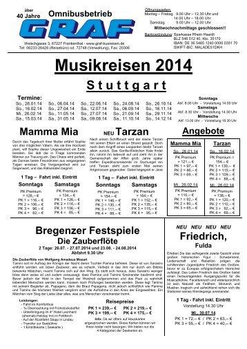 Musikreisen 2014 zum download - Graf Busreisen Frankenthal