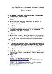 List of publications with impact factors and citations ... - MTA SzFKI