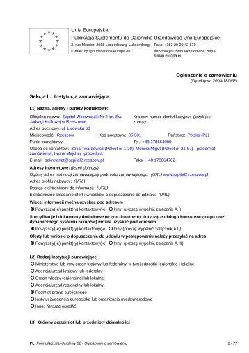 Ogłoszenie o zamówieniu - Szpital Wojewódzki Nr 2 w Rzeszowie