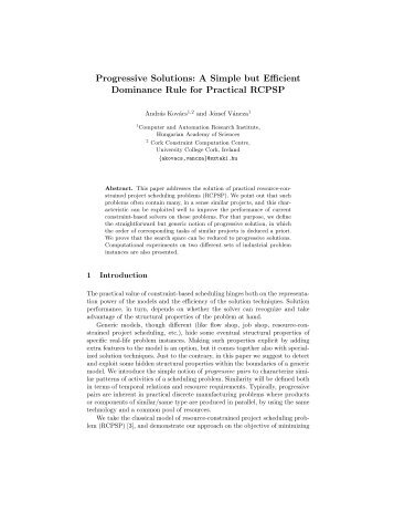 Progressive Solutions: A Simple but Efficient Dominance Rule for ...