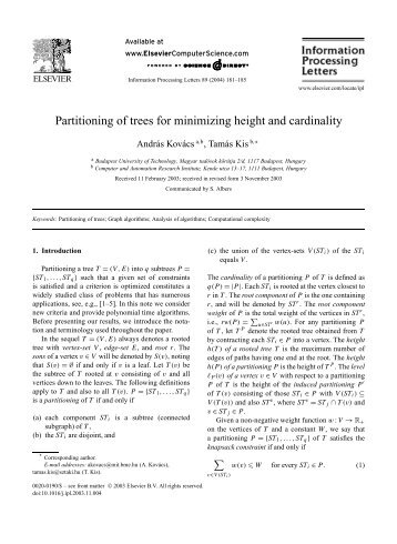 Partitioning of trees for minimizing height and cardinality - CiteSeerX