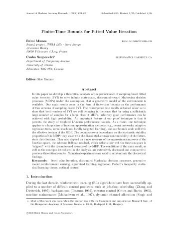 Finite-Time Bounds for Fitted Value Iteration