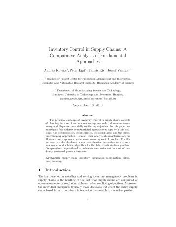 Inventory Control in Supply Chains: A Comparative Analysis of ...