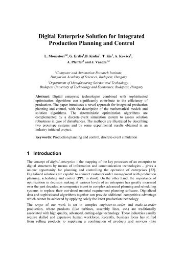 Digital Enterprise Solution for Integrated Production Planning and ...