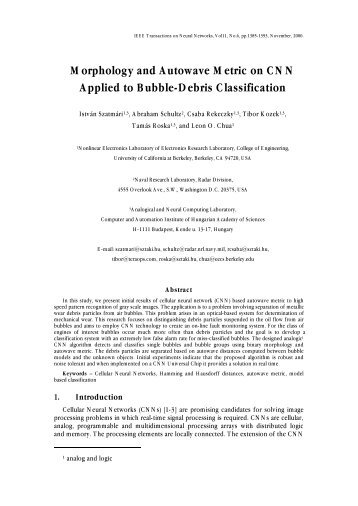 Morphology and Autowave Metric on CNN Applied to Bubble-Debris ...