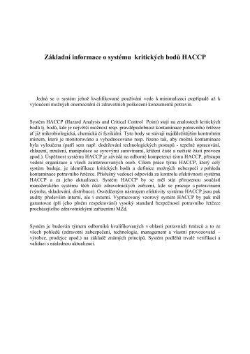 Základní informace o systému kritických bodů HACCP