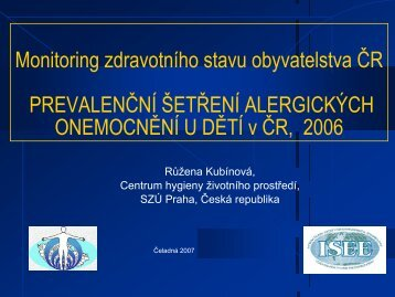 Prevalenční šetření alergických onemocnění u dětí v ČR, 2006
