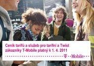 Ceník služeb T-Mobile - 2011 dubenCeník tarifů