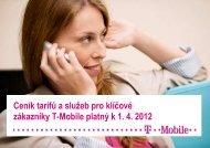Ceník služeb T-Mobile pro zákazníky s Rámcovou smlouvou - 2012 ...