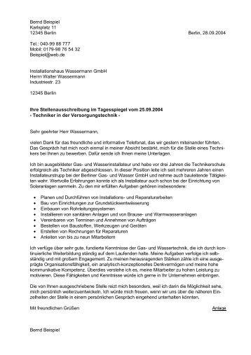 Bernd Beispiel Karlsplatz 11 12345 Berlin Berlin Anschreibennet