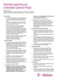 Obchodní podmínky pro zvýhodnění Optimum Práce - T-Mobile