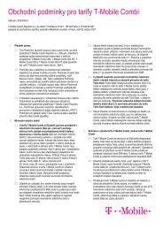 Obchodní podmínky pro tarify T-Mobile Combi