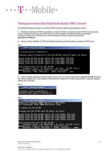 Postup pro otestování funkčnosti služby SMS Connect - T-Mobile
