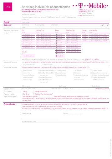 Aanvraag individuele abonnementen - T-Mobile