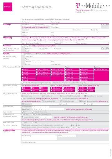 Aanvraag abonnement - T-Mobile