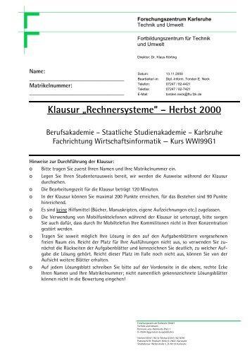 Klausur Systemarchitektur vom 13.11.2001 - Torsten E. Neck