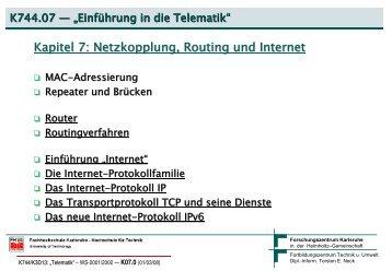 Netzkopplung, Routing und Internet - Torsten E. Neck