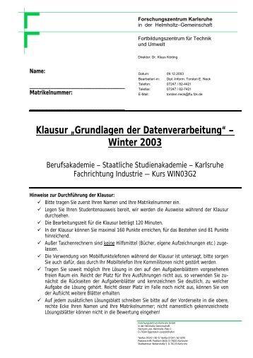 Klausur Informatik-1 vom 01.12.2003 - Torsten E. Neck