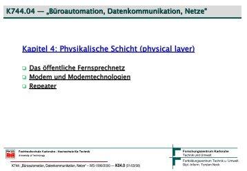 Kapitel 4: Physikalische Schicht (physical layer - Torsten E. Neck