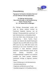 Gesamte Pressemitteilung lesen - Technische Akademie Hannover eV
