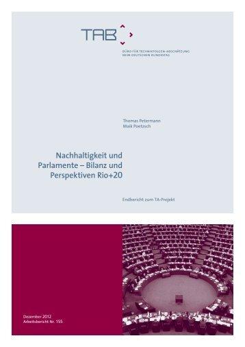 Nachhaltigkeit und Parlamente – Bilanz und Perspektiven Rio+20