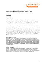 CaraOne: WEINSBERG Wohnwagen Neuheiten 2013/2014 - Tabbert