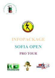 INFOPACKAGE SOFIA OPEN - International Table Soccer Federation