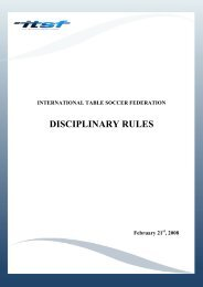 DISCIPLINARY RULES - International Table Soccer Federation
