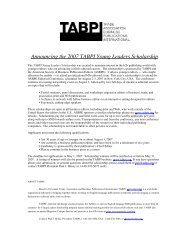 Announcing the 2007 TABPI Young Leaders Scholarship