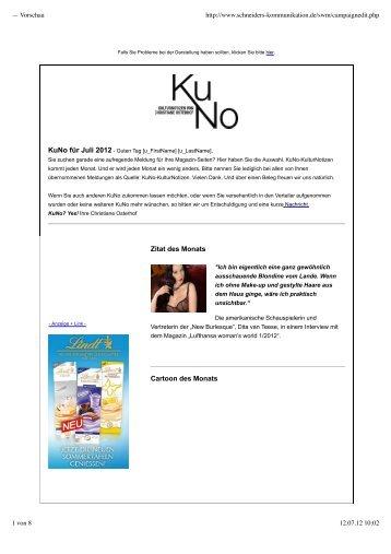 — Vorschau - KuNo-KulturNotizen von Christiane Osterhof