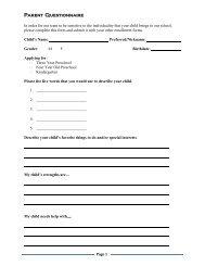 Parent Questionnaire - Tacoma Public Schools