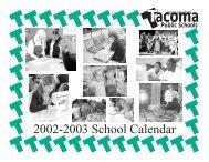 2002-2003 School Calendar - Tacoma Public Schools