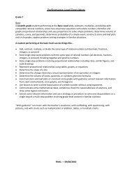 Mathematics Grades 3-8 Performance Level Descriptors