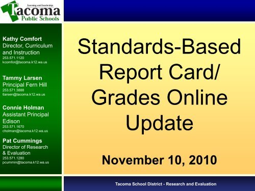 Study Session - Stadards Based Report Card/Grades Online Update