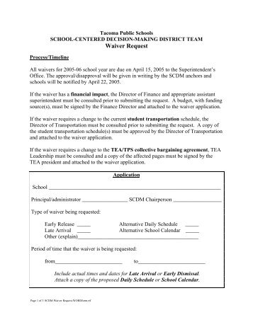 SCDM Waiver Request - Tacoma Public Schools