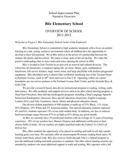 Blix Elementary School - Tacoma Public Schools