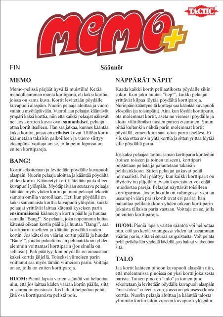 Säännöt FIN MEMO BANG! NÄPPÄRÄT NÄPIT TALO - tactic