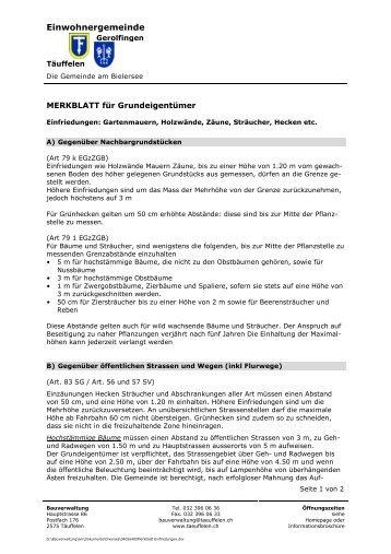 04056400Merkblatt Einfriedungen - Einwohnergemeinde Täuffelen ...