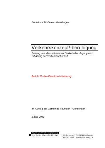 Verkehrskonzept/-beruhigung - Einwohnergemeinde Täuffelen ...